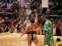 Sumo throwing salt