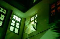 green window of hotel