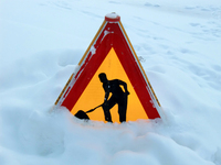 A sign in the snow