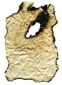 Burnt old sheet of paper