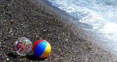 balls at beach