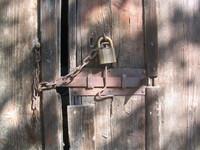 old lock on a barn door