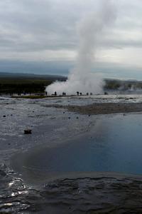 Strokkur erupting near Geysir