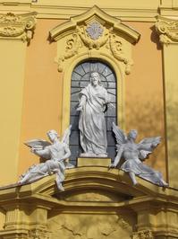 sculptures on a church