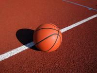 Basketball ball on court