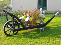 decorative wooden wheelbarrow