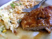 Pasta, salad & pork chop
