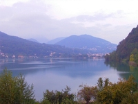 View of Lugano Lake from Ponte Tresa