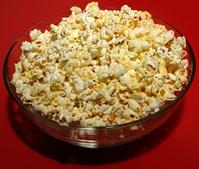 Popcorn in clear bowl