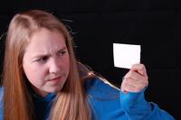 Girl holding note