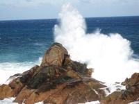 Wave on rocks