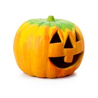 Halloween pumpkin figurine made from clay