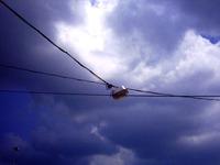 streetlamp with cloudy sky