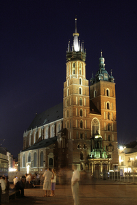 church in krakow at night