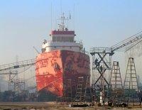 Small ship undergoing repairs