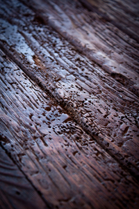Woodworm-damaged table