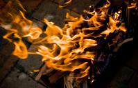 Charcoal BBQ flames