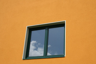 Window on orange house