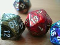 twenty-sided dice (detail)
