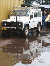 Land Rover in the Rain