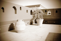 Old pot on terrace