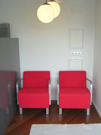 red armchairs