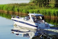 Motorboat on lake