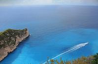 Beautiful blue sea and fast boat