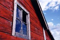 Broken Window On Old Barn