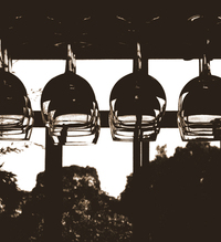 row of hanging wine glasses 2