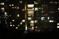 Panel house at night
