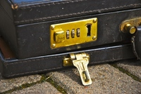 Old briefcase with combination lock
