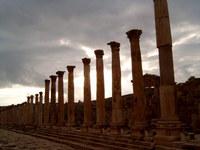 ancient colums at sundown