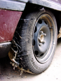 Wrecked car tire