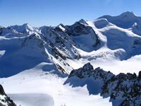 White snow and blue sky