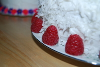 Rasberry Garnish Coconut Cake
