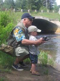 Grandpa and Gabe Fishing