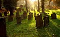 Cintorín - náhrobné kamene s krásnou zelenou trávou osvetlené lúčmi slnka