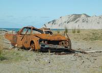 Wrecked Car On Beach
