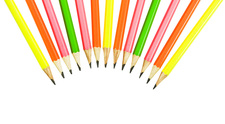 Wooden pencils in line