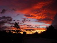 sunset, clouds colors city