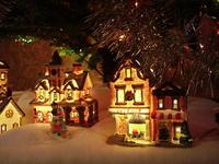 Village under christmas tree