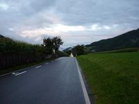 Church, road, clouds