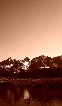 Lakeside Mountain Sepia
