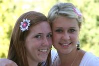 Teenage Girls with flowers in hair