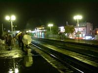 train station a rainy night