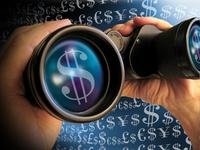 Znak peňazí v ďalekohľade - výber z viacerých možností - znak dolár v ďalekohľade