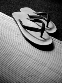 sandal on a mat