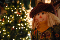 Scarecrow with Christmas tree