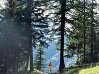 A man walking in mountain